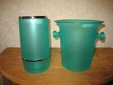 LAURA LYS *NEW* Set 2 pièces Seau à champagne + Rafraichisseur plexi vert
