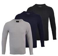 Mens Premium Chenille Crew Neck Knitted Winter Jumper Honeycomb Top M-XXL