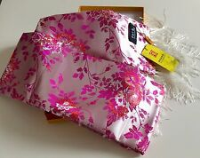 Chinese SILK BROCADE FRINGED SCARF Hand Woven Brand New in Box with Certificate