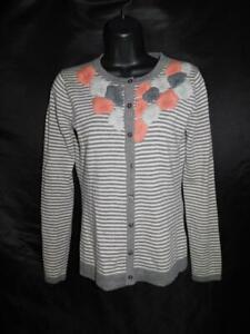 Garnet Hill XS Gray Stripe Pink Embroidered Floral Cardigan Sweater Merino Wool