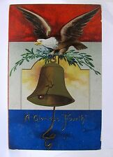 1908 International Art EAGLE & LIBERTY BELL 4th of July  embossed postcard