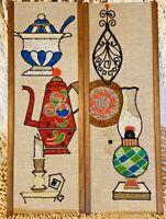 *Pair* Vintage 60's Modern Mid Century Bar TeaPot Lamps Gravel Pebble Wall Art