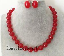 12 mm rot Jade Halskette und Ohrringe Set,45cm