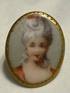 Antique Painted Porcelain Stud Button Portrait Woman Oval Shape Gold Trim