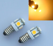 2X 6V LED LAMP E10 SCREW 6 VOLT Warm WHITE BICYCLE TORCH DC E10 MES