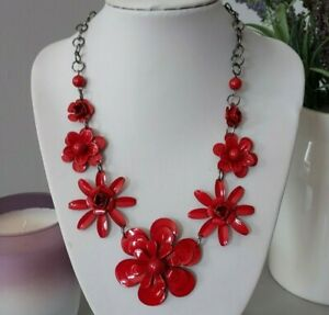 Steampunk Retro Red Flower Beaded Chain Costume Short Necklace Mod Goth Punk