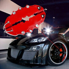 4x Red 3D Car Disc Brake Caliper Covers Front & Rear Kit Accessory Universal