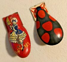 2X Vintage Tin Clicker Noise Maker Metal Toy -  1791