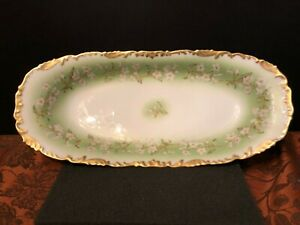 "ANTIQUE T&V LIMOGES FRANCE HAND PAINTED 13"" CELERY TRAY  T&V Red Bell Mark c1910"