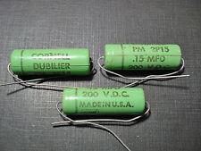 3 pcs Cornell Dubilier Greenie capacitor 200 volt .15 MFD PM2P15 NOS