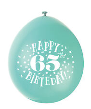 Assorted Colour 65th Birthday Air Fill Only Latex Balloons Decorations 10pk