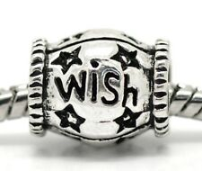 """Wish"" Inspirational Star Word Spacer Bead for Silver European Charm Bracelets"