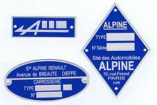 Plaque constructeur Alpine - Alpine vin plate