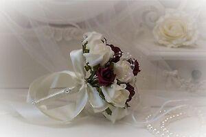 Bridemaid Posies in Burgundy & Ivory