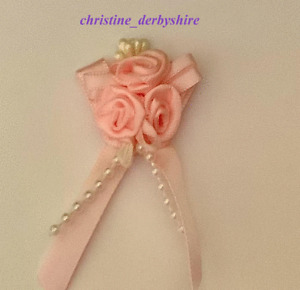 PRETTY PINK ROSES PEARLS MAGNET/MAGNETIC HAIR BOW ACCESSORY 4 REBORN/FAKE/BABY