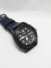 Fossil Men's Chronograph Machine Blue Leather Band Black Dial With Date FS5066
