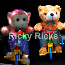 Light Up Bicycle Monkey Bear Kids LED Moving Toy Figure Sounds Real Movement