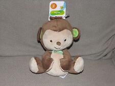 BABY Bean Bag FISHER PRICE plush MY LITTLE SNUGAMONKEY MONKEY Green Bow Ribbon