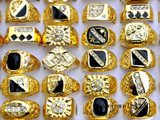 Wholesale Fashion Jewelry Lots 10pcs Men's Gold Plated Rhinestone Wedding Rings