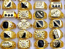 Wholesale Fashion Jewelry Lots 10pcs Men's Gold Plated Rhinestone Wedding Rings