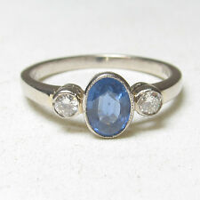 Estate $2200 18K White Gold 1.10 Ct Natural Blue Oval Sapphire And Diamond Ring