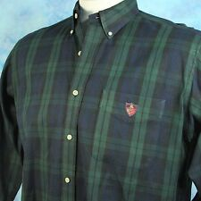 Ralph Lauren GOLF Mens L Tilden Shirt Black Watch Tartan Plaid Crest 100% Cotton