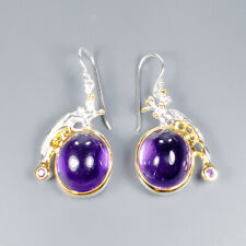 Vintage SET Natural Amethyst 925 Sterling Silver Earrings /E36585
