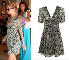 BNWOT KATE MOSS @ TOPSHOP 100% SILK black green pansy floral tea dress size 8 36