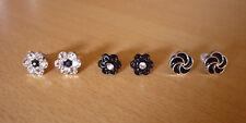Set 3 paar oorbellen bloemen zwart en zilverkleurig strass  NIEUW