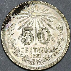 1921 Mexico Silver 50 Centavos AU 72% Silver Type Coin (21012503R)