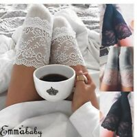 Winter Women Lace Cable Knit Over Knee Long Boot Thigh-High Warm Socks Leggings