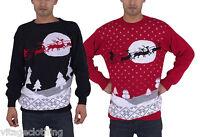 Mens Jumper Sweater Retro Christmas Xmas Unisex Ladies Santa Reindeer Sleigh