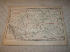 Vintage 1901 Northwest Territories Map Rand McNally Business Atlas Single Page