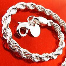 FSA133 GENUINE REAL 925 STERLING SILVER CLASSIC SNAKE LINK CUFF BRACELET BANGLE