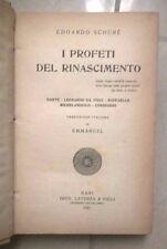 I PROFETI DEL RINASCIMENTO SCHURE' DANTE DA VINCI MICHELANGELO RAFFAELLO 1921