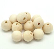 20 Stück runde Holzperlen Holzkugeln natur 12mm Spacer Beads Basteln