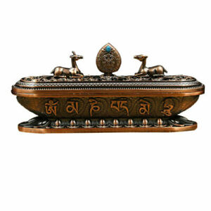 Large Tibetan copper Alloy Incense Stick Holder Buddhism Box Burner Ash Catcher