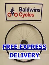700c REAR Hybrid Bike / Cycle Wheel BLACK Alloy Rim + 6 SPEED SHIMANO FREEWHEEL