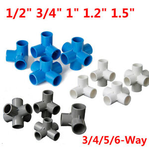 """PVC 3/4/5/6-Way Elbow Connector Pipe Fittings 1/2"""" 3/4"""" 1"""" 1.2"""" 1.5"""" Blue White"""