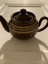 Antique ALB Alcock Lindley Bloor Stripped Brown Betty Teapot England