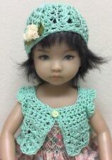 "*Mint Tulip ""  Sweater & Hat~Effner Darling ~ 13"" Dolls"