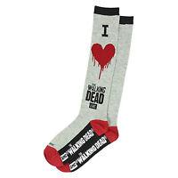 Walking Dead I Heart Walking Dead 1 Pair Of Crew Socks NEW Zombies