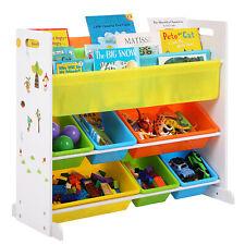 Wooden Children Book Storage Rack Toy Storage Boxes Organizer Bookshelf GKR03W