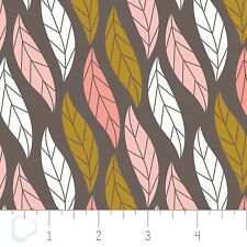 Camelot 100% Algodón patchworkquilting fq/metre Magnolia-Hojas En oscuro marrón topo