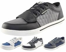 Mens Crosshatch Designer Low Quilted Trainers Sneakers UK 7-11 Casual Shoes