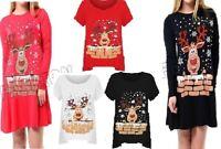 New Women's Reindeer Snowflake Swing Dress Ladies Hanky Hem T-Shirt Long Top
