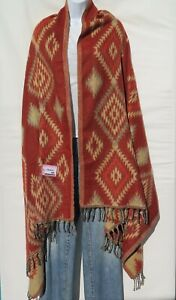 Yak+Sheep Blend Southwest Shawl/Throw  Handloomed Reversible Colors: Red