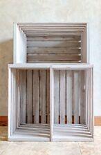 Rustic Wood Slat Crates Set Of 3 Stackable Farmhouse Grey