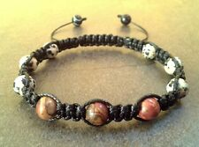 Men's bracelet jasper stone bead braided shamballa jewelry wristband bangle men