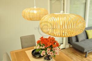 Bamboo Pendant Ceiling Lampshade Handmade Ellipsoid Shade Natural Brown L014L